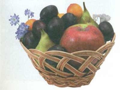 сплетенная из лозы ваза для фруктов